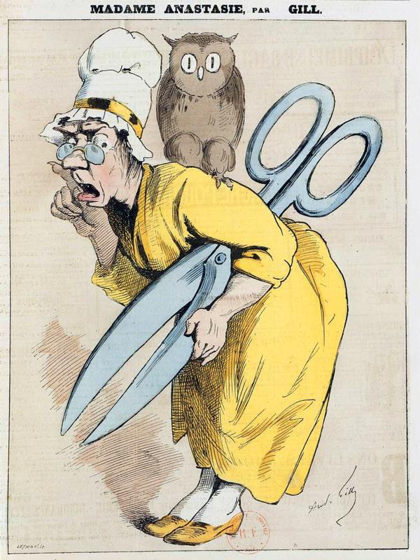 """André Gill, """"Madame Anastasie"""",<em>L'Éclipse</em>, n. 209, 19 juillet 1874"""